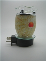 Plug In Orange Sun White Mosaic Crackle Glass Oil Warmer