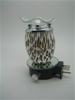 Plug In Oil Warmer - Cheetah Print Glass Aroma Lamp