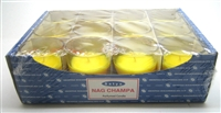 Satya Nag Champa Scented Candle 12 Pack Shot Glass in Printed Tray