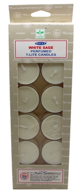 Satya Tea Light Scented Candle - White Sage - Pack of 12