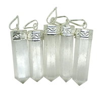 5 Selenite Pendants 1.5""