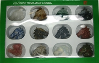 12 Hand Carved Stones Horse Heads Set - Assorted Stones