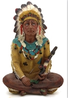 "Sitting Chief with Pipe Small - 4.5""H"