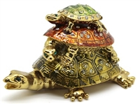 Three Tortoise/Turtle Bejeweled Trinket Box - One piece