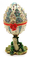 Frog with Close Lotus Flower and Red Ribbon Trinket Box