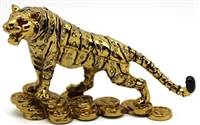 Golden Tiger on Bed of Coin Trinket Box