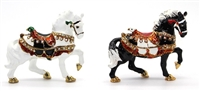 Horse Bejeweled Trinket Box - Two Colors: Black or White