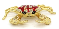 Golden Crab with Red Stripe - Bejeweled Trinket Box