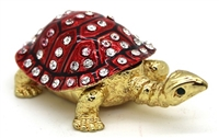Tortoise Red Shell - Trinket Bejeweled Box