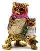 Double Owl on Branch Bejeweled Trinket Box