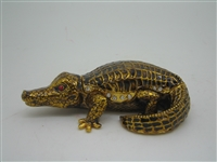 Black and Golden Alligator - Bejeweled Trinket Box
