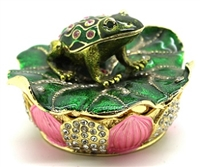 Frog Over Lotus - Trinket Box
