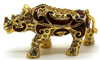 Gold Rhino Trinket Box