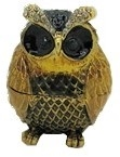 Small Chubby Owl Black & Gold - Bejeweled Trinket Box