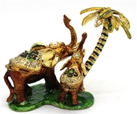Elephants Pushing Palm Tree - Bejeweled Trinket Box