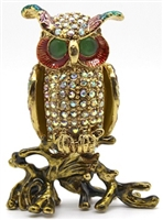Owl on Trunk Trinket Box Bejeweled