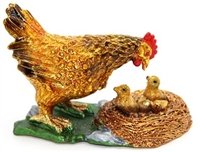 Hen with Chicks Trinket Box