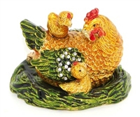 Chicken with Chicks in a Nest - Bejeweled Trinket Box