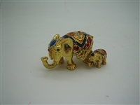 Set of Two Small Elephants - Bejeweled Trinked Box