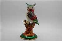 "Owl on tree stump w/ jewels 5"" trinket TRNK-4745"