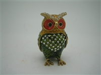 Colored Small Owl - Bejeweled Trinket Box