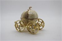 "Gold/pearl pumpkin carriage Trinket box 2.5"" TRNK-5017"
