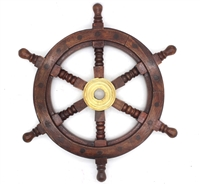 "Wood Nautical Ship Wheel 12"" Diameter"