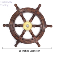 "Wood Nautical Ship Wheel 18"" Diameter"