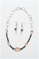 Citrine and Lava rock Necklace with Earrings