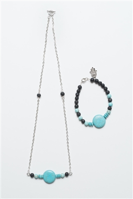 Turquoise and Lava stone necklace with Bracelet.