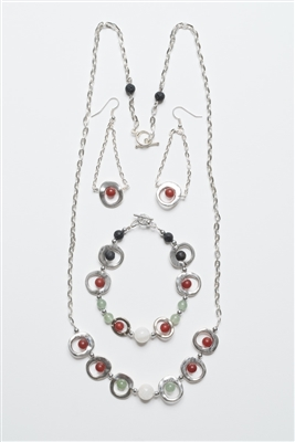 Multi-Stone Healing Necklace with Bracelet and Earrings