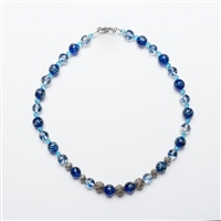 Blue glass and Silver beads necklace