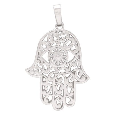 Sterling Silver Hamsa with evil eye Pendant