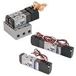 4-Way Single Solenoid Valve for Air, 15mm wide Body, Body Ported, DC24 Volt, Lead Wire