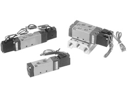 "Air Solenoid Valve, 4 Way,  2 Position, 18mm (0.708"") Body Width, Single Solenoid, DIN With LED"