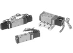 "Air Solenoid Valve, 4 Way, 3 Position, 18mm (0.708"") Body Width, Double Solenoid, DIN Without LED"