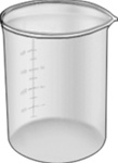 "Glass Graduated Beaker 1000ml Cap, 50ml Grads, 4-13/16"" Dia, 5-11/16"" H O'all"