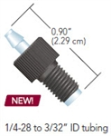 Soft Tubing Connectors - SWIVEL BARB ADAPTER, BARB TO MALE 1/4-28, 3/32 IN ID, .056 IN THRU HOLE, POLYPROPYLENE