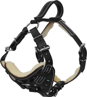 Active Dogs Reflective Sheepskin Lined Leather Harness