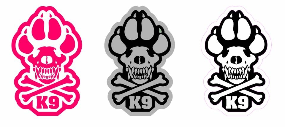 K9 skull crossbones sticker