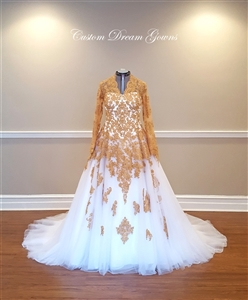 Rami Kadi Gold Lace Wedding Dress