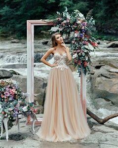 Azalea 17110 Custom Dream Gowns | Custom Wedding Dresses | A-Line Wedding Dresses | Nude Wedding Dresses | Strapless Wedding Dresses | Sexy Wedding Dresses | Lace Wedding Dresses | 2018 Wedding Dresses