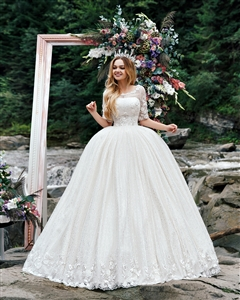 Hyrdrangea 17123 | Custom Dream Gowns | Custom Wedding Dresses | Ball Gown Wedding Dresses | Princess Wedding Dresses | Sparkly Wedding Dresses | Wedding Dresses with Sleeves | Royal Ball Gown | Lace Wedding Dresses | Dream Wedding Dresses | 2018 Wedding