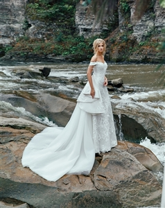 Lantanum 17114 Wedding Dress | Custom Dream Gowns | Wedding Dresses & Bridal Gowns | Custom Wedding Dresses | Detachable Skirt Wedding Dresses | Off Shoulder Wedding Dresses | Mermaid Wedding Dresses | 2018 Wedding Dresses | Lace Wedding Dresses | 2 in 1