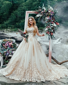 Liana 17118 | Custom Dream Gowns | Custom Wedding Dresses | Ball Gown Wedding Dresses | Princess Wedding Dresses | Crystal Wedding Dresses | Gold Wedding Dresses | Dream Wedding Dress | 2018 Wedding Dresses | Gold Lace Wedding Dresses | Couture Ball Gowns