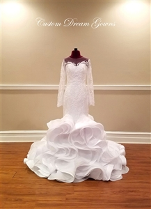 George Elsissa by Custom Dream Gowns | Mermaid Wedding Dresses | Elegant Wedding Dresses | Ruffle Skirt Wedding Dresses | Illusion Lace Wedding Dresses | Sexy Wedding Dresses | Romantic Wedding Dresses | Design Your Wedding Dress | Custom Wedding Dresses