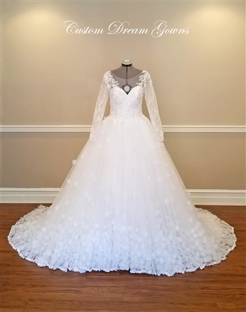 Melissa Wedding Dress | Custom Dream Gowns | Custom Wedding Dresses | Ball Gown Wedding Dresses | Princess Wedding Dresses | Illusion Lace Wedding Dresses | Wedding Dresses with Sleeves | Royal Ball Gown | Lace Wedding Dresses | Dream Wedding Dresses