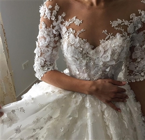 Audrina Wedding Dress | Custom Dream Gowns | Custom Wedding Dresses | Ball Gown Wedding Dresses | Princess Wedding Dresses | Illusion Lace Wedding Dresses | Wedding Dresses with Sleeves | Royal Ball Gown | Lace Wedding Dresses | Dream Wedding Dresses