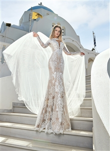 Style 1909 | Custom Dream Gowns | Wedding Dresses & Bridal Gowns | Custom Wedding Dresses | Sexy Wedding Dresses | Wedding Dresses with Capes | Lace Wedding Dresses | 2019 Wedding Dresses | Mermaid Wedding Dresses | V-Neck Wedding Dresses | Long Sleeves