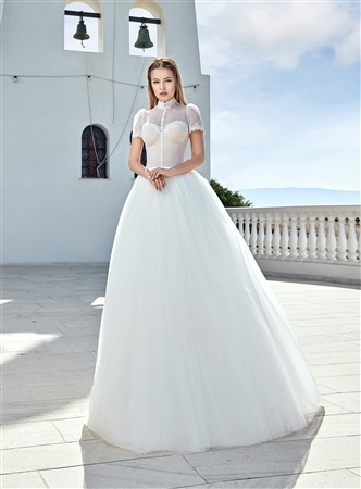 Style 1914 | Custom Dream Gowns | Custom Wedding Dresses | Vintage Wedding Dresses | Retro Wedding Dresses | Short Sleeve Wedding Dresses | Ball Gown Wedding Dresses | High Neckline Wedding Dresses | Gothic Wedding Dresses | 2019 Wedding Dresses | Boho